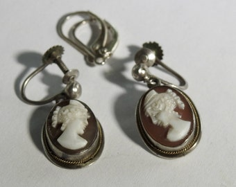 Antique Silver Carved Shell Cameo Earrings