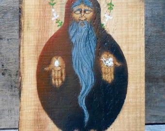 "original folk painting, ""The Hermit"""