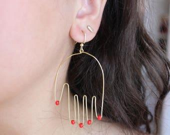 Manicure Hands Wire Earrings
