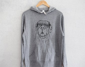 Tufton the English Mastiff - Grey French Terry - Unisex Slim Fit - Dog Lover, Gifts for Dog Owner