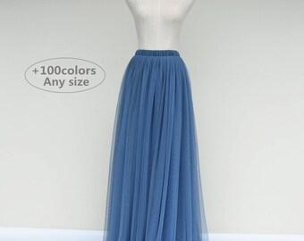 Dusty blue wedding bridesmaid tulle skirt,any size women tulle skirt,custom tulle wedding skirt