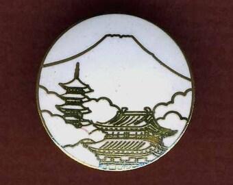 Vintage Button, Enamel Mt. Fuji Made in Japan
