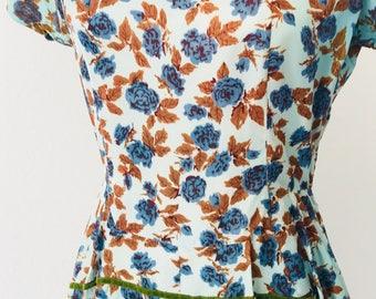 Vintage 50's Blue Roses in Bloom Day Dress Velvet Trim l M
