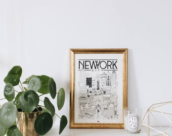 New York / A4 / doctor Paper / Travel With Me / Illustration / travel / poster / city / wall decor / black and white / Map / Design