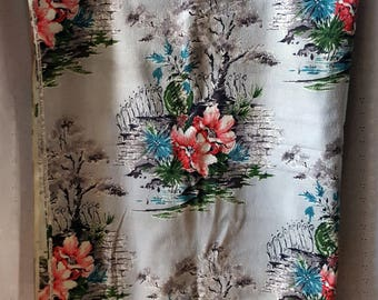 Vintage Mid Century Barkcloth, Floral Curtain Fabric, Gray, Pink, Blue, Green, 2.5 Yards
