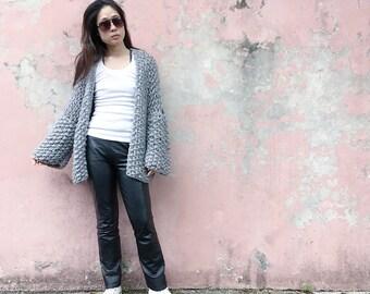 Handknit, Chunky, Oversized Cardigan, Wool Jacket, 3/4 Sleeve Cardigan, Fall Jacket, Grey Marle Jacket, Slouchy Jacket