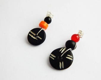 Small Dreadlocks Jewelry Hair Accessories African tribal Afrocentric Handmade Silver Black Orange Red Loc Jewellery