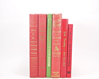 SALESMANSHIP Book Collection, Decorative Book Set, MEns book gift, Pink REd Book Decor, Instant Library, Sales books, MASculine Office Decor