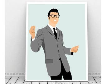 Buddy Holly Poster, Buddy Holly Art, Instant Download, Downloadable Art, Famous People, Music Artwork, Music Print, Rock and Roll, 50's Art