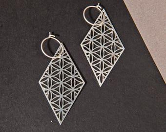 Silver Diamond Earrings, Geometric earrings, sacred geometry Jewelry, Silver Diamond Jewelry, Spiritual Earrings, Diamond shaped earrings