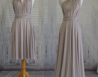 Taupe bridesmaid dress infinity Dress Convertible Formal,wrap dress party dress Evening dress -C48# B48#