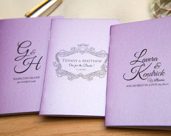 50 Lilac Pearlised Mini Notebook Favours. Custom purple wedding favours, Violet place cards. Unique Notepad favour. Personalised favours