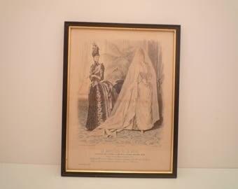 "1800's Antique Fashion Print from French Fashion Magazine "" Le Moniteur de la Mode "" 1886 Paris. Wedding Dress  Ladies Dress engraving frame"