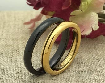 3mm His and Hers Tungsten Wedding Ring, Personalized  Custom Engraved Tungsten Ring, Unisex Ring, Promise Ring, Purity Ring, Skinny Ring