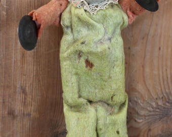 Primitive Antique French Mechanical Squeeze Box Wood Body Bisque Head Felted Clothes Tin Cymbals Doll Toy