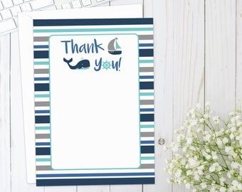 Nautical Thank You Card, nautical baby shower, nautical theme, whale, sailboat, baby shower, thank you, DIGITAL FILE