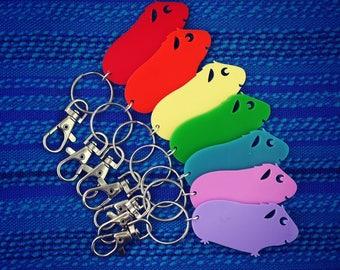 Smiling Guinea Pig - a Giggly Pig! Coloured Keyring, Keychain or Bag Charm - Fun Cute Kawaii Laser Cut Acrylic Keychain
