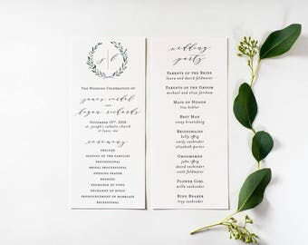 james greenery wedding programs (sets of 10)  // winery olive branch watercolor rustic eucalyptus greenery modern simple calligraphy program