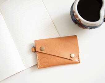 Small leather wallet // Veg tanned natural leather card wallet coin purse