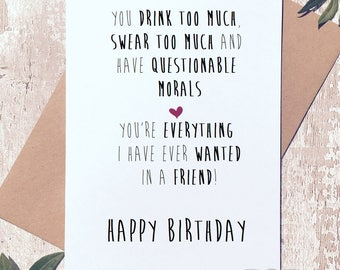 Funny birthday card, birthday card friend, Greeting Card, birthday card funny, birthday card for her, cards for women, rude card,