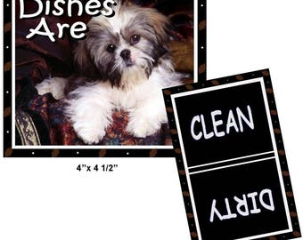 Shih Tzu Dog DISHWASHER MAGNET Clean/Dirty ... Free Shipping!
