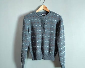 SALE vintage 80's acrylic button front sweater in blue