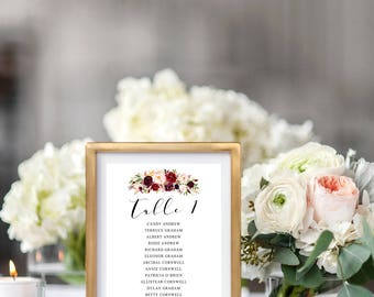 Wedding Seating Chart Template, Seating Plan Burgundy, Wedding Seating Chart Marsala, Table Cards, Seating Cards, PDF Instant Download, FL16