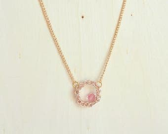 Eternity Gold Circle Necklace, Rose Crystal Necklace, October Birthday, Modern Crochet Jewelry, Circle Pendant, Swarovski Crystal