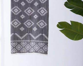 Tribe Turkish Towel | Black Beach Towel Travel Soft Tribal Design Aztec Towel Beach Towel Yoga Throw Bath Gym  Cotton Pool Towel Fouta TRT01