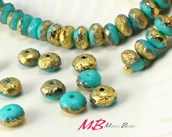 7x4mm Gold Etched Turquoise Rondelles, Faceted Rondelle, 25 pcs Czech Glass, Puffy Donut Beads