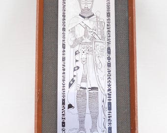 Vintage Metal Picture - Robert the Bruce by Omicways Ltd, Cornwall - Hessian Background - Scottish King - Retro Picture - Vintage Wall Decor