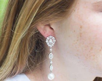 White Gold Earrings | Long Earrings | Bridal Earrings | Pearl Earrings | Bridal Jewelry | Pearl Dangle Earrings | Weddings