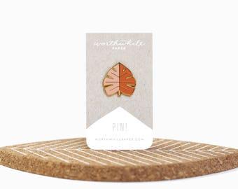 Monstera Leaf Enamel Pin // Blush and Orange // Hard Enamel Cloisonné