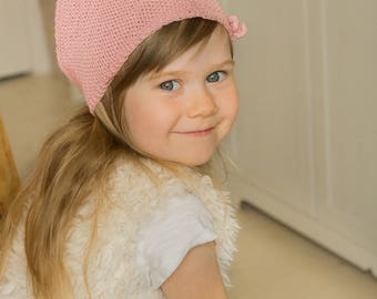 KNITTING PATTERN kerchief bandana Brita with a bow and button (toddler, child, adult sizes)