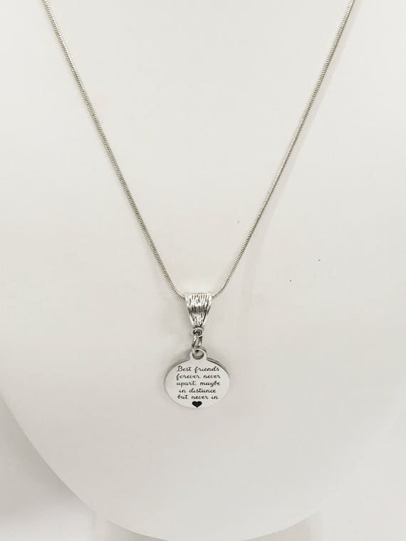 Best Friends Necklace, Best Friends Forever Necklace, Best Friend Jewelry, Best Friends Never Apart, BFF Moving Gift, Long Distance Friend
