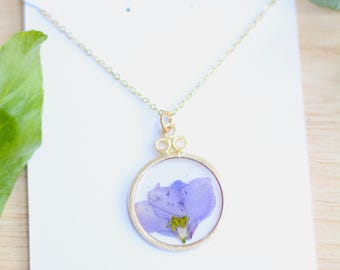 Purple Larkspur Necklace Pressed Flower Jewelry