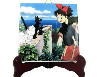 Studio Ghibli Kiki and Jiji from Kiki's Delivery Service collectible ceramic tile Studio Ghibli art Hayao Miyazaki Kiki's cat Jiji the Cat