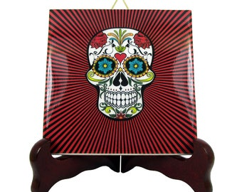 Sugar Skull Calavera Mexicana wall hanging ceramic tile Day of the Dead Dia de los Muertos red psychedelic background