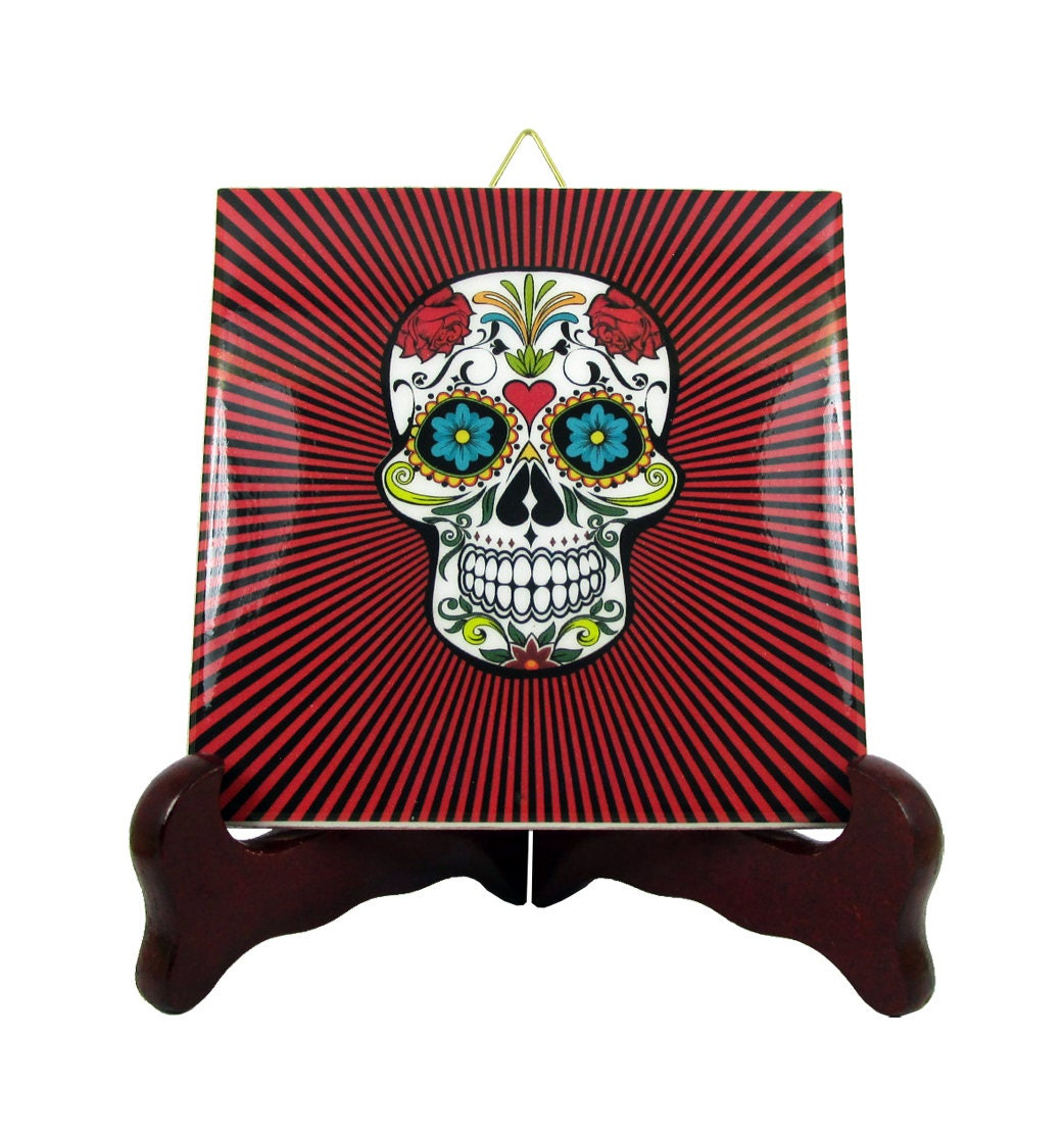 Sugar skull calavera mexicana wall hanging ceramic tile day of zoom dailygadgetfo Choice Image