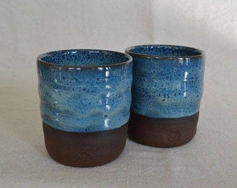 Tumblers, pottery cups, blue pottery, blue cups, drinking cups, drinkware, wine cups, sake cups, tea cups