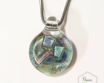 Pendentif mix de verre borosilicate et dichroïque, éclat 3 couleurs taille Moyen