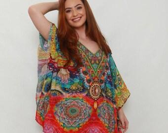 Cabo Mini Multicoloured Kaftan style dress and Top- Luxury Beachwear and Resort wear