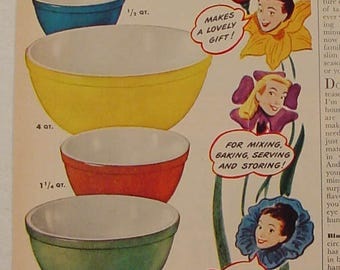 Pyrex Mixing Bowls Nesting Bowls Primary Colors Spring Flowers 40's or 50's Print Ad
