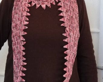 Original scarf pink / Brown speckled / hand crocheted