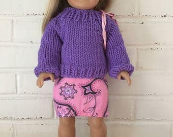 American Girl Doll clothing - Purple and Pink Skirt and Sweater outfit