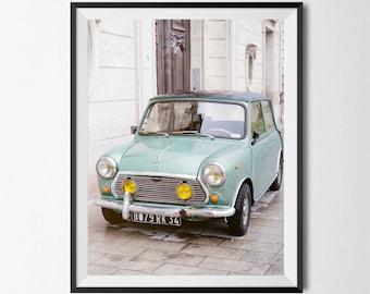 Blue Mini Cooper Print - Aqua Blue, Vintage Mini, Vintage Car,  Mini Cooper, Paris Art Print, France Art Print, Boho Wall Art, Modern Art
