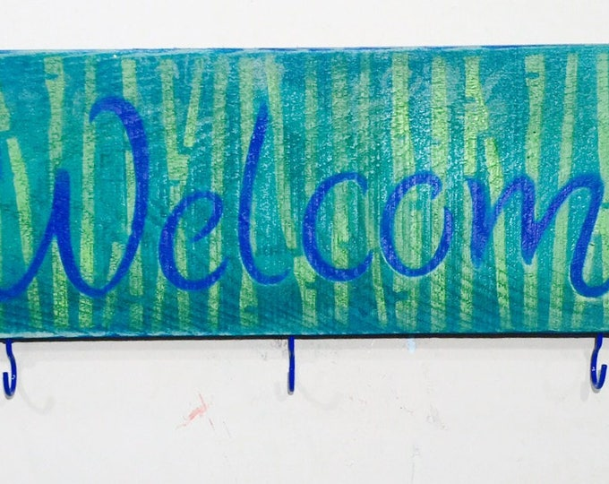 Pallet wood signs /welcome sign stenciled birchwood 5 hooks 2 knobs coat rack wall /reclaimed wood decor entryway wall hanging organizer