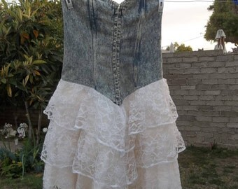 Vintage Dress 1980s Denim Lace Acid Wash Jeans Small Oversized Madonna New Wave Grunge Cyndi Lauper Era Girls Fun Dance Party Stand Out 80s