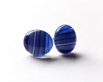 Blue Striped Glass Stud Earrings, fused glass on titanium posts