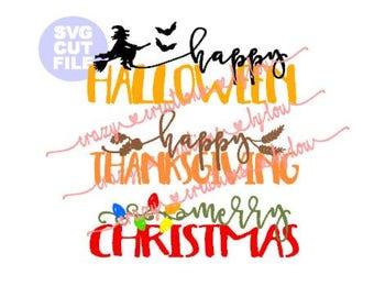 Holiday Set Halloween Thanksgiving Christmas digital cut file for htv-vinyl-decal-diy-plotter-vinyl cutter-.SVG -.DXF  & JPEG format